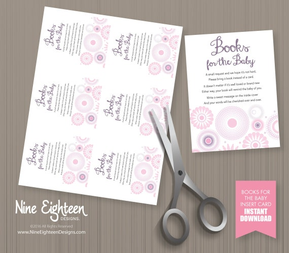 baby shower bring a book instead invitation insert card spirograph