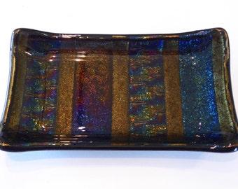 "Fused Glass 3.5"" x 5.75"" Dish - Patchwork Rainbow iridescent glass."