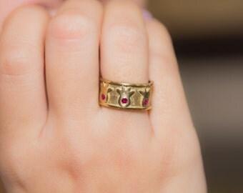pomegranate solid gold,unique pomegranate gold ring,ruby pomegranate gold ring,ruby solid gold ring