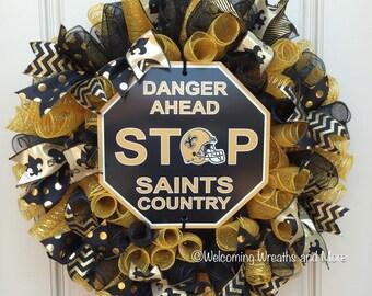 New Orleans Saints Wreath, New Orleans Saints Mesh Wreath, Black and Gold Saints Wreath