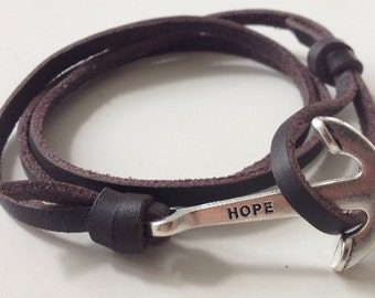 Anchor rope leather bracelet