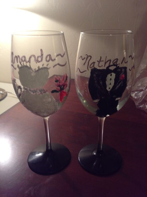 Hand Painted Wedding Couple Glasses By GiftBasketsbyMel On Etsy