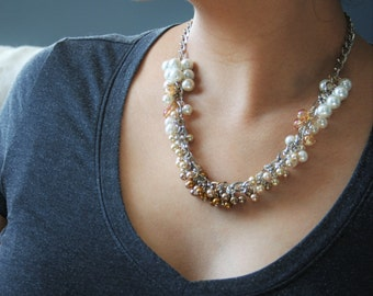Pearl Ombre Cluster Necklace