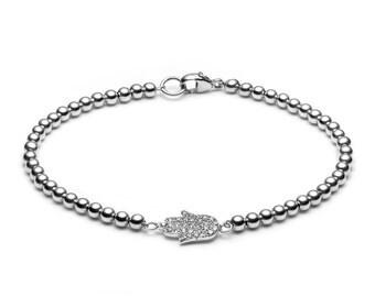 Limited sparkle Hamsa hand • ball bracelet silver