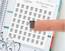 56 Clear Trash Can Planner Stickers, Clear Planner Stikers, ECLP Stickers, Functional Sticker, Trash Can Decorative Stickers
