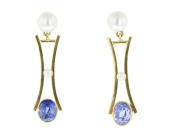 1930's Pearl and Sapphire Drop Earrings