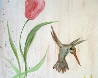 Hummingbird, nature, flower painting