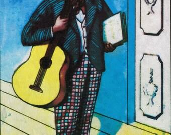 Loteria El Musico Mexican Retro Illustration Art Print on Paper Canvas and Cotton Canvas