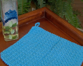 Turquoise Blue Crocheted Hand Towel