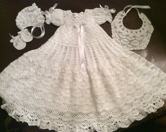 baby Andrea christening gown crochet pattern, includes bonnet, bib, and mittens, baby crochet pattern, baptism pattern, blessing gown