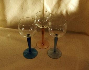 Three Vintage Harlequin Hock Glasses