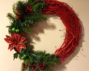 Red Grapevine Christmas Wreath