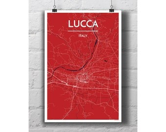 Lucca, Italy - City Map Print