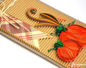 Thanksgiving card/ Quilling Thanksgiving card/ Thanksgiving Day/ Pumpkin/ 3D Thanksgiving card/ Orange