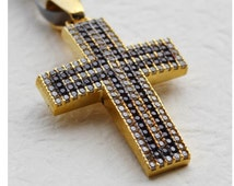 Womens Gold Cross Necklace Pendant, 14K Gold Cross Pendant with Diamond Simulated Stones, Greek Baptism Cross, Solid 14K Gold Cross