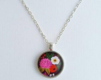 Flower necklace, floral necklace, flower pendant, flower jewelry, floral jewelry, bronze pendant, silver pendant,