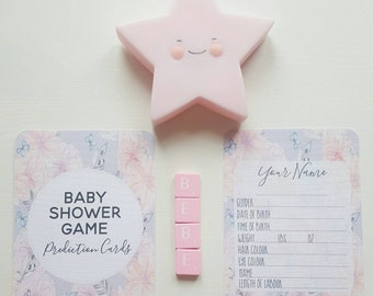 Baby Shower Game - Baby Prediction cards - Floral