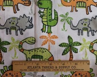 Green and Orange Dinosours Cotton Fabric Fat Quarter 18 X 22