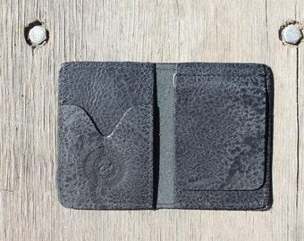 Distressed black leather money clip