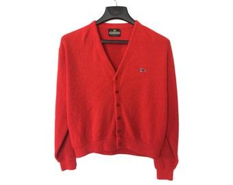 Vintage Red 70's Sportswear Cardigan Large/X-Large FREE SHIPPING!