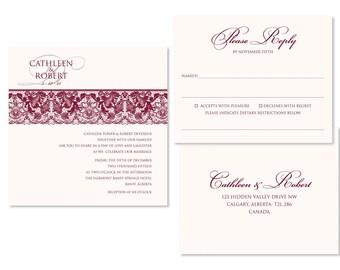 Lace Wedding Invitation Set (priced per 25)