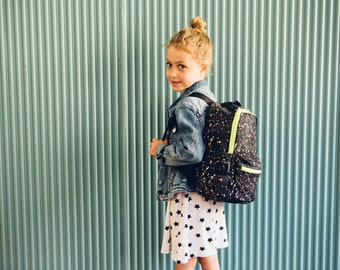 Black with colorful triangles backpac,kids backpack, cotton backpack,mini backpack, toddler backpack, cool trendy bag