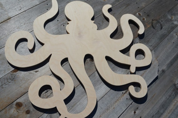 Small Nautical Wall Decor : Small wooden octopus art nautical decor beach wall