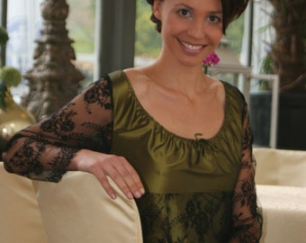 Evening Dress with long lace sleeves, made of silk in olive and black
