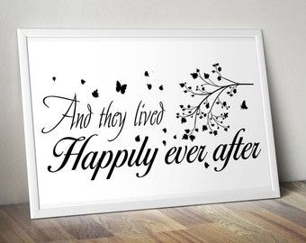 And they lived happily ever after printed wall decor romantic poster love quote home wall decoration design