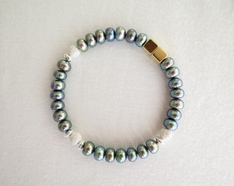 Black-pearl bracelet with sterling-silver beads