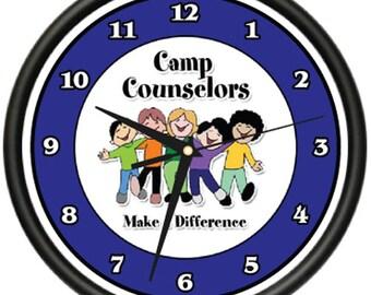 Camp Counselor Wall Clock Summer Camp Tent Kids Children Gift