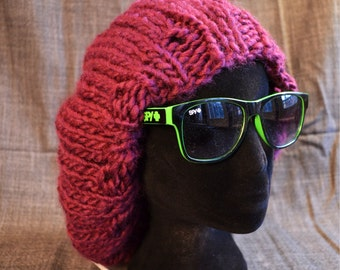 Knitted Floppy Burgundy Slouchy Style Hat // Wool Blend