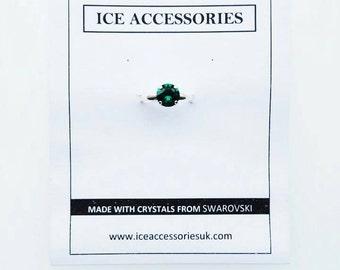 Emerald Green Swarovski Ring. Birthstone Ring. May Ring