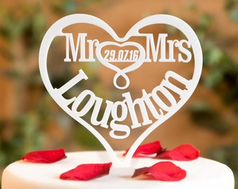 Mr and Mrs Wedding Cake Topper Heart Decorations Personalised Date and Longer Surnames Mr and Mr Mrs and Mrs Acrylic Toppers Decorations MM3
