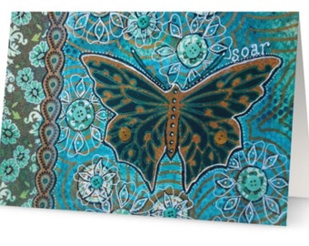 BLANK CARD 'Soar' ~ mixed media artwork by Amanda Stelcova