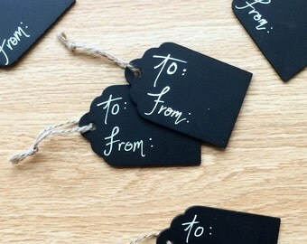 Personalized Cutom Calligraphy Chalkboard Gift Tags 5 Pack