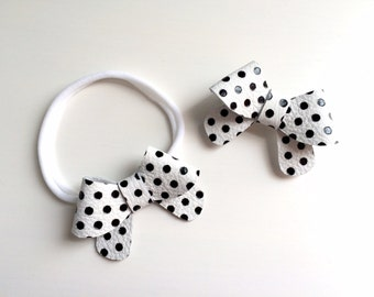 Black and white polka dot leather Helen bow - small - headband - alligator clip