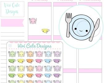 Kawaii Plates & Bowl Planner Stickers, kawaii stickers, Meal planning stickers, Dishes Stickers, ...