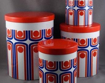 best VINTAGE KITCHEN mid century enamel CANISTER set of 4 atomic graphic