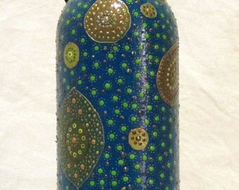 Hand painted blue wine bottle