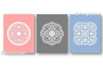 Flower Art - Modern Wall Art - Circle Flower Decor - Art for Twins - Flower Bathroom Art - Flower Nursery Decor -Flower art Instant Download