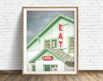 """typography art, kitchen art, kitchen decor, instant download art, printable art, photography, instant download, rustic -""""Truck Stop Cafe"""""""