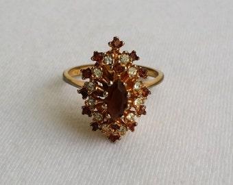 Vintage 18k H.G.E. Rhinestone Navette Cluster Ring Size 9