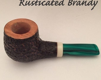 Handmade tobacco pipe - rusticated brandy.