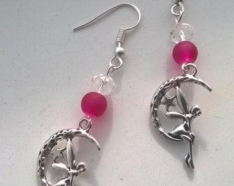 moon earrings, faiey earrings, beaded earrings, drop earrings