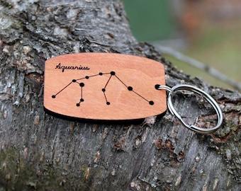 Aquarius zodiac constellation urban wood keychain // birthday gift // mothers day