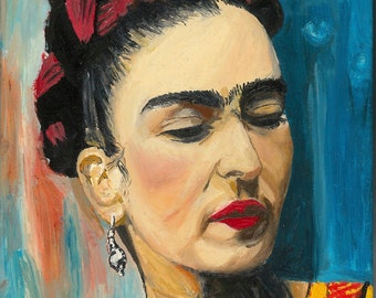 FRIDA KAHLO Oil Painting Original Colourful Oil Painting Art Portraits Icons Wall Art Canvas Art