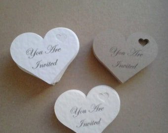 50 Heart shaped You are invited invitation toppers tags