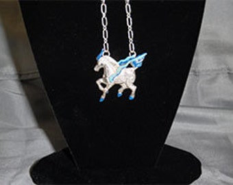 Sterling Silver, Sapphire, and Sodalite Art Nouveau Japanese Unicorn (Kirin) Necklace