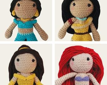 Disney Princess: Jasmine, Pocahontas, Belle & Ariel. Aladdin, Beauty and the Beast, Little Mermaid. Amigurumi Pattern PDF, DIY, Crochet Gift